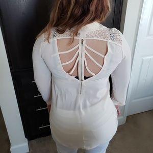 Imaginary Voyage Cream Cut-out Back Top Medium